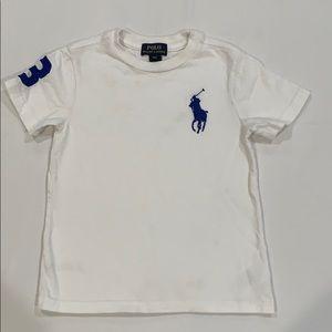 White Polo t-shirt, with blue logo.